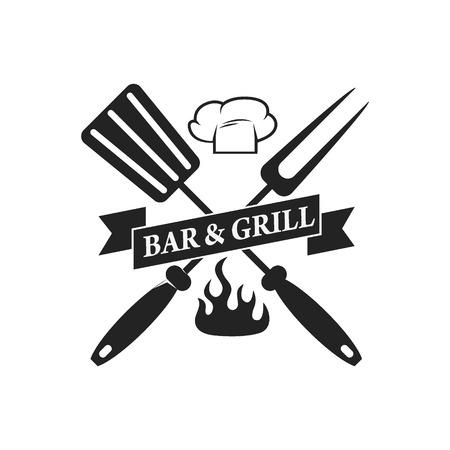barra de bar: barra de barbacoa, parrilla de barras plantilla de etiqueta. Ilustración del vector. Vectores