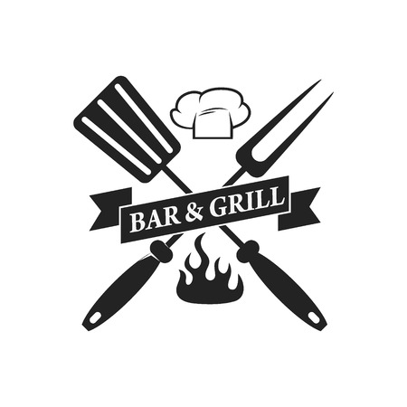 Bbq bar, grill bar label template. Vector illustration.