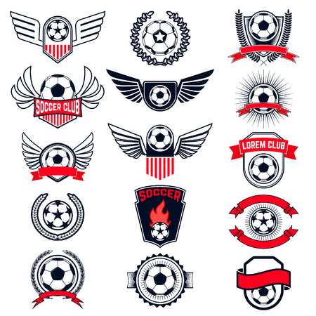 Set of Soccer logos, badges and design elements. Collection symbol of football: soccer ball, heraldry, insignia. Vector illustration.