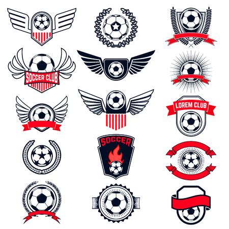 Set van Soccer logo's, badges en design elementen. Collectie symbool van het voetbal: voetbal, wapenkunde, insignes. Vector illustratie.
