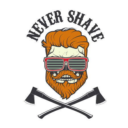 whisker characters: Never Shave. Skull with beard and two axes. Vector illustration.