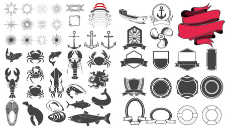 lobster isolated: Set of seafood labels design templates and elements. Silhouettes of fish, crabs, omars, lobsters and other.