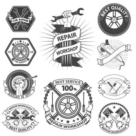mecanico automotriz: Logo para el taller de reparación. la mecánica emblema. Herramientas mecánica - llave fija, llave ajustable. Mano con una llave inglesa. taller de logotipo en el estilo de la vieja escuela.