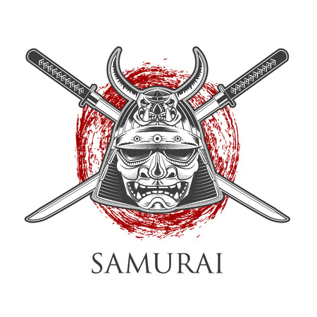 samourai: Samurai Warrior Mask Avec Katana Sword. �tiquette, mod�le de badge. Vector illustration.