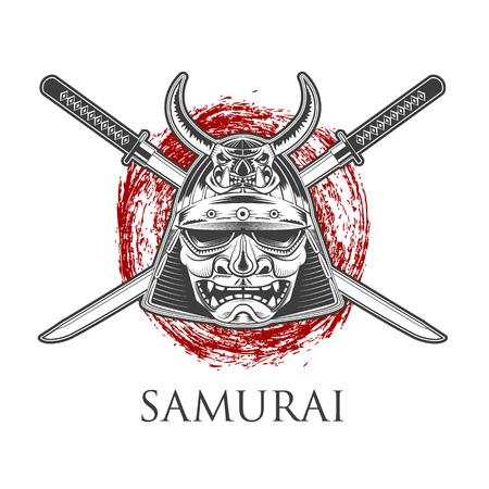Samurai Warrior Mask Met Katana zwaard. Etiket, badge sjabloon. Vector illustratie.
