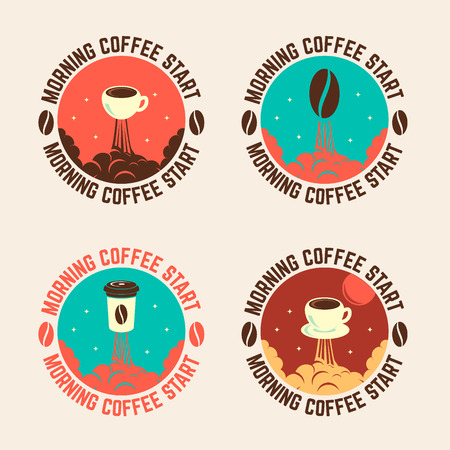 cofee cup: Set of cofee cup launch emblems. Morning cofee start. Illustration