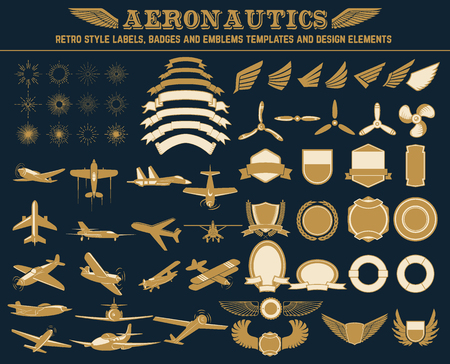 aeronautics: Aeronautics retro style labels, badges and emblems templates and design elements.