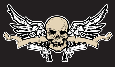 vector skull danger sign: Hand draw human skull with wings and two revolvers. t-short print design template. Vector illustration.