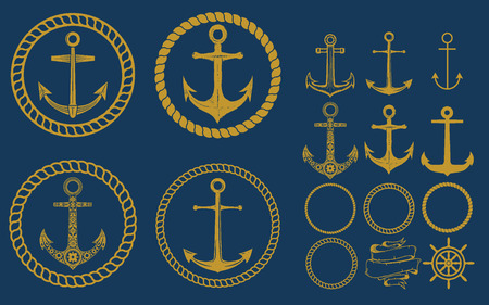 iron chain: Set of nautical emblems and design elements in vintage style. Anchors labels set on blue background.
