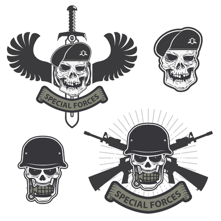 Military emblem. Human skull in a helmet with a grenade in his mouth. special forses labels set Illustration
