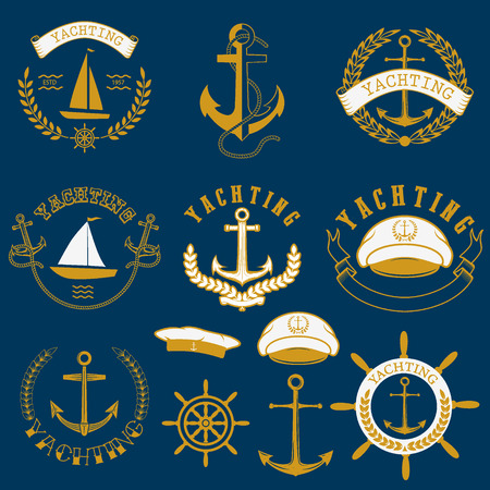 yachting: Set of yachting and nautical labels isolated on blue background. Collection of elements for company logos, business identity, print products, page and web decor or other design. Vector illustration.
