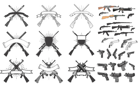 Set of weapon labels and design elements. Hunting weapon labels. Handgun, revolver, rifle, AK. Иллюстрация