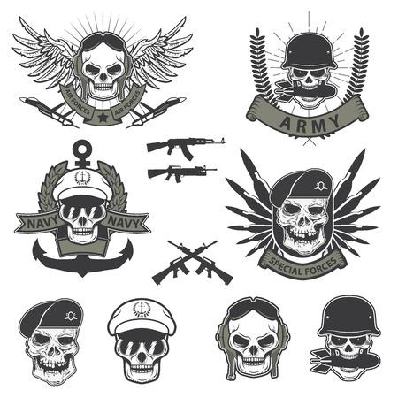 estrellas  de militares: Emblema Militar. Cráneo humano en un casco con una granada en la boca. forses especiales establecer etiquetas Vectores