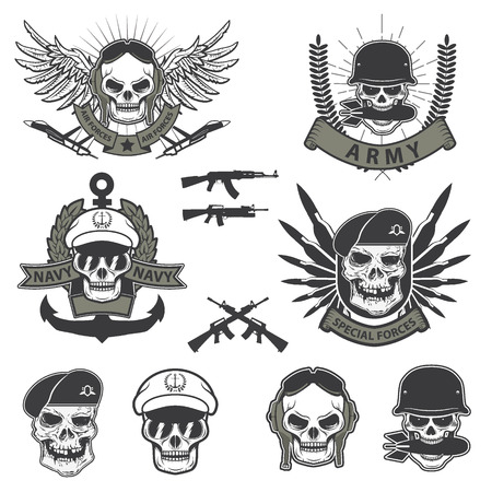 Military emblem. Human skull in a helmet with a grenade in his mouth. special forses labels set Ilustrace