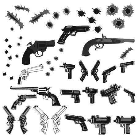rip: Big set of pistols and bullet holes isolated on white background. Handguns set on white background. Revolvers, hand guns and automatic handguns set.