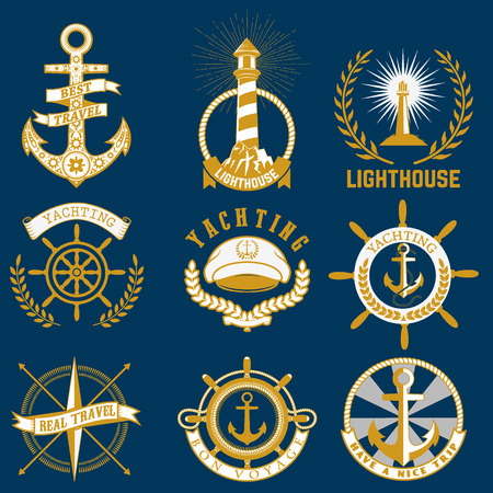 Set of sea and nautical decorations isolated on blue background. Collection of elements for company logos, business identity, print products, page and web decor or other design. Vector illustration.