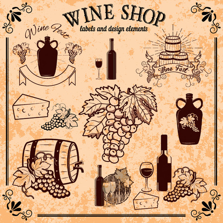wine and cheese: wine shop labels and design elements. Grape, wine bottles, cheese, wine barrel. On grunge background.