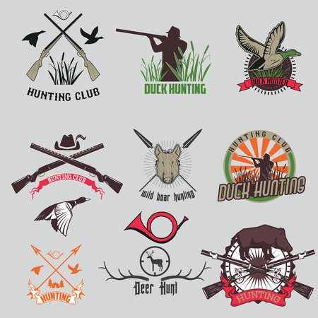 hunting dog: Vintage hunting with dog duck wild pig and gun labels set isolated vector illustration