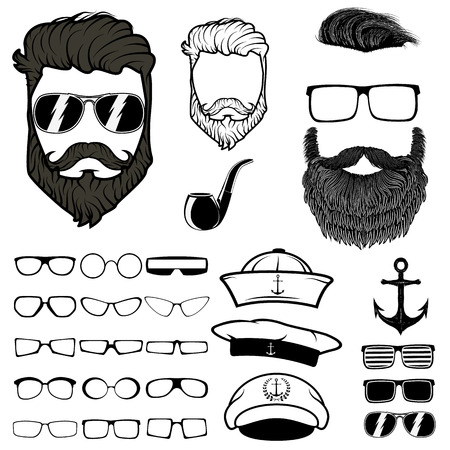 cool boy: Hipster hair and beards, fashion vector illustration set.