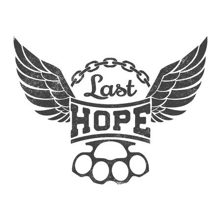 """tatouage oiseau: """"Dernier espoir"""" illustration vectorielle. �tiquette vintage avec des ailes, la cha�ne et de laiton jointures sur fond grunge pour t-shirt imprim�, poster, embl�me. Vector illustration. Illustration"""