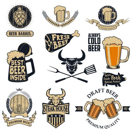 bbq barrel: Set of the beer and steak  labels and emblems  Illustration
