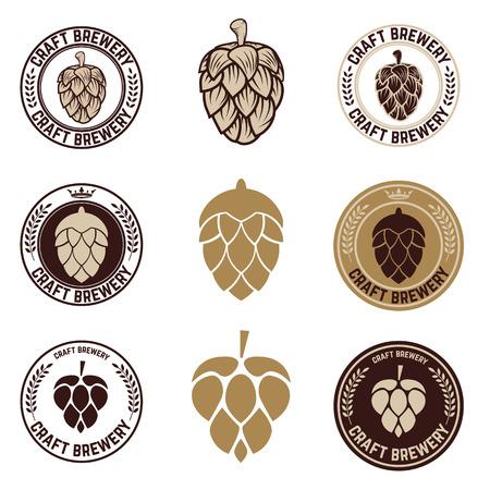 fall harvest: Set of Hop craft beer sign symbol label element.