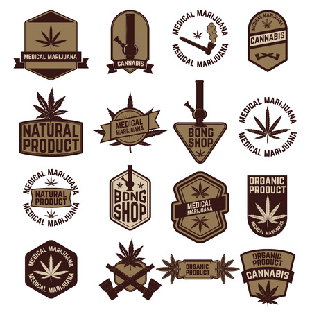 marijuana: Set of cannabis labels and badges.