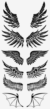 Heraldische vleugels vastgesteld voor tatoeage of mascotte van het ontwerp. Ontwerp elementen in vector. Stock Illustratie