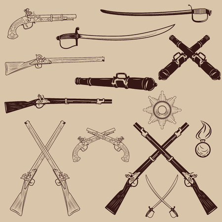 wildlife shooting: Set of weapon design elements. Ancient weapon, Ax, sword, sabers, grenades