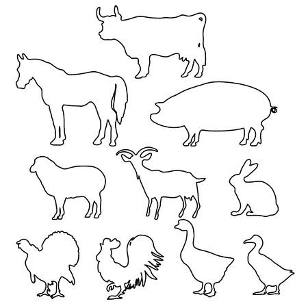 Bauernhof Tiere Silhouetten in Linienstil.