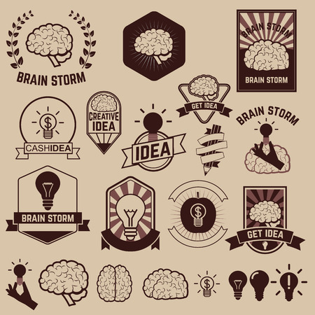 brainstorm: Set of brainstorm, creative idea and brain labels and design elements.