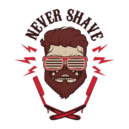 Mai radersi. Cranio con barba e due lame da barba. T-shirt modello di progettazione di stampa. Illustrazione vettoriale. Vettoriali
