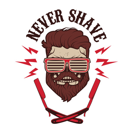 Never shave. Skull with beard and two shaving blades. T-shirt print design template. Vector illustration.