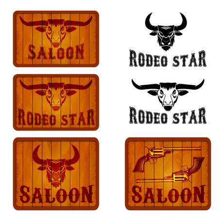 country style: Bull head on wooden background. Saloon, Rodeo labels templates and design elements. Two revolvers on wooden background. Wild West.