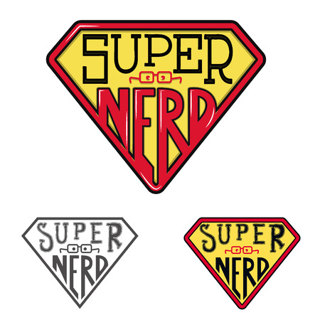 uomo rosso: Emblema secchione Super. T-shirt modello di progettazione di stampa. Illustrazione vettoriale.