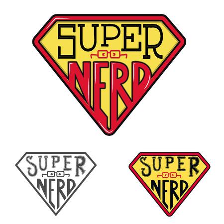and symbol: Super nerd emblem. T-shirt print design template. Vector illustration. Illustration