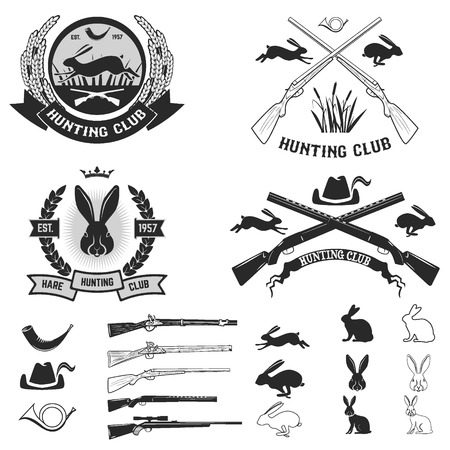 Set of hare hunting club labels, badges and design elements. Vector illustration.