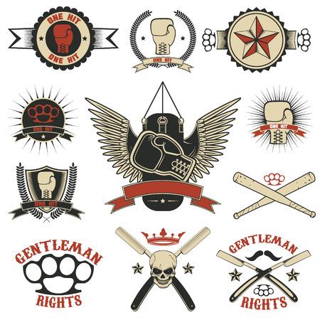 Conjunto de MMA, boxeo, lucha de la calle emblemas y elementos de diseño. Club de la lucha. club de caballeros. Ilustración del vector.