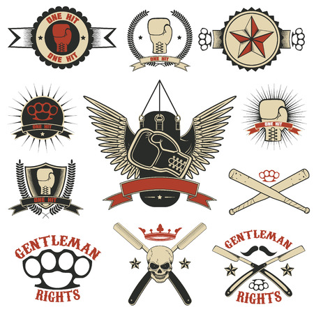 Set of mma, boxing, street fight emblems and design elements. Fight club. Gentlemen club. Vector illustration.