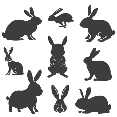 Set of the Rabbit black silhouettes. Easter rabbits. Hare silhouettes. Hare hunting.  Vector illustration.