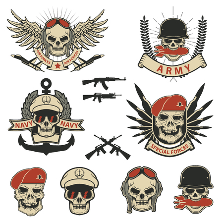 Set of military labels, badges and design elements. Special forces. Skull with grenade. Vector illustrations. Illustration