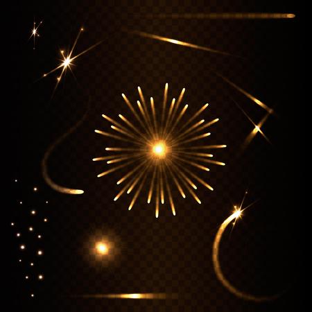 Jeu de lumières effets. Glowing Effects. Ensemble de Lens Flares Transparent et Eclairage. Vector illustration. Banque d'images - 50529086
