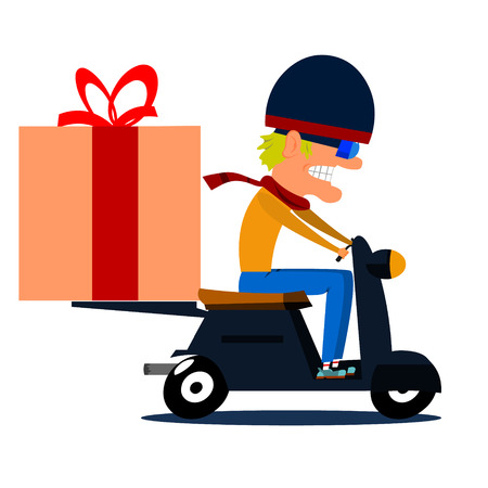 moped: Cartoon moped driver with cargo. Vector illustration.