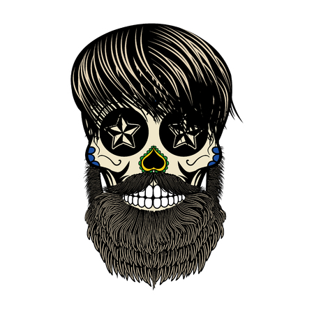 bearded skull. Sugar skull with beard. Day of death. Vector illustration