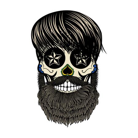 skull character: bearded skull. Sugar skull with beard. Day of death. Vector illustration