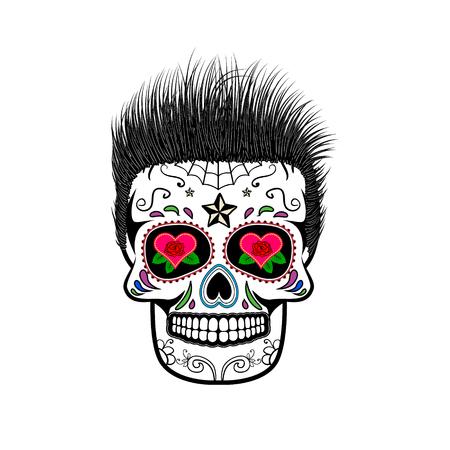 cráneo del azúcar con el pelo. El día de los Muertos. La plantilla para imprimir en camisetas. Ilustración del vector. Ilustración de vector