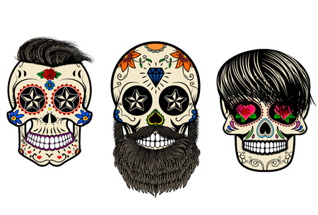 mexicans: Three Sugar skulls with hair and beards. The day of the Dead. The template for printing on T-shirts. Vector illustration.