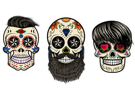 Trois crânes de sucre avec les cheveux et la barbe. Le jour des morts. Le modèle pour l'impression sur T-shirts. Vector illustration.