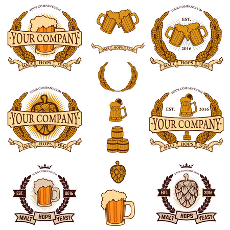 malt: Ingredients for the production of beer. Beer company logo, label beer. The emblem of beer. Hops, malt, yeast. Set of beer label design elements.