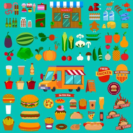 alimentos y bebidas: Gran conjunto de iconos de alimentos. Camión de comida. Mercado. Comida chatarra. Comida rápida. comida sana